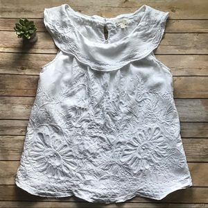 Anthropologie MEADOW RUE Embroidered Linen Top 6
